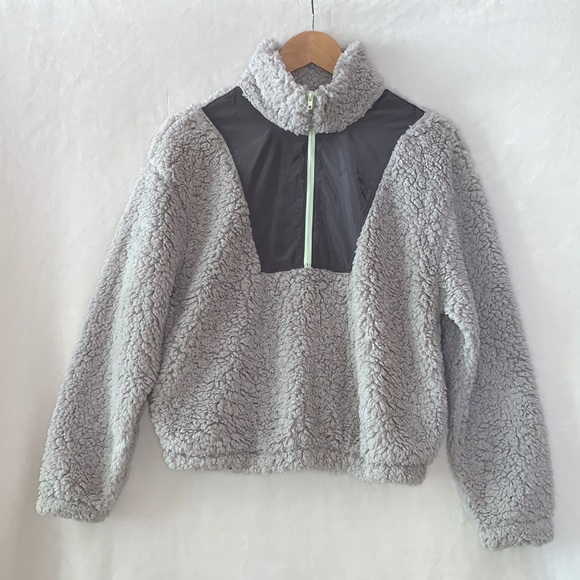 Wild Fable Gray Sherpa 1/4 Zip Pullover XS